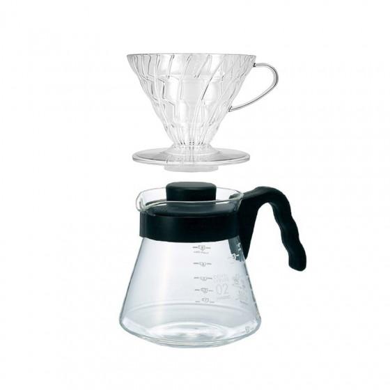Cafetière à filtration V60 Hario et son dripper transparent
