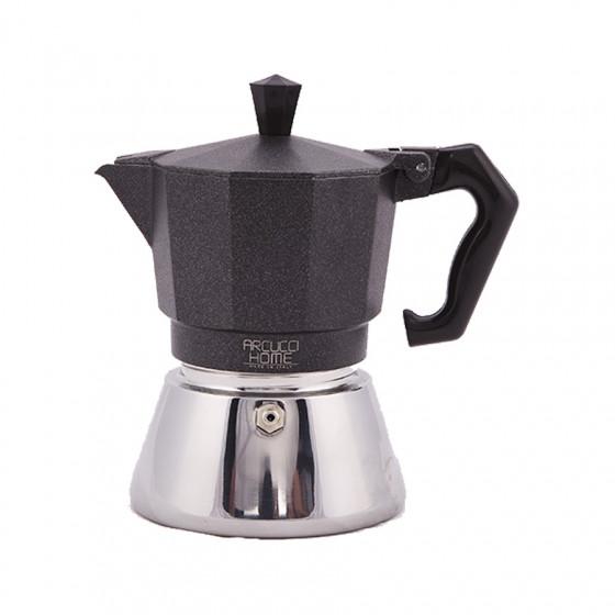 Cafetière Moka 6 tasses noire à induction