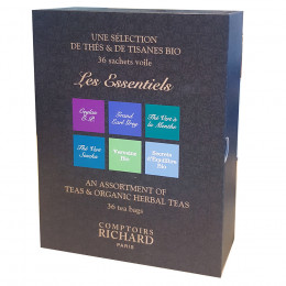 Coffret infusions thés et tisanes Comptoirs Richard x36 sachets assortis voiles suremballés