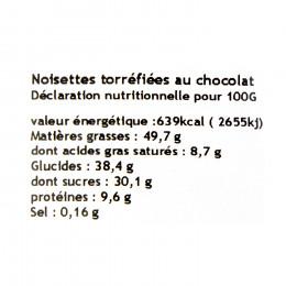 Noisettes torréfiées enrobées au chocolat 100g