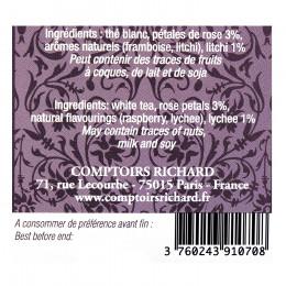 Thé blanc aromatisé rose litchi Comptoirs Richard x15 sachets voiles suremballés