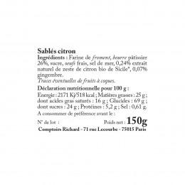 Biscuits sablés citron suremballés 150g