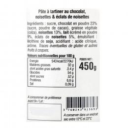 Pâte à tartiner chocolat et éclats de noisettes 450g