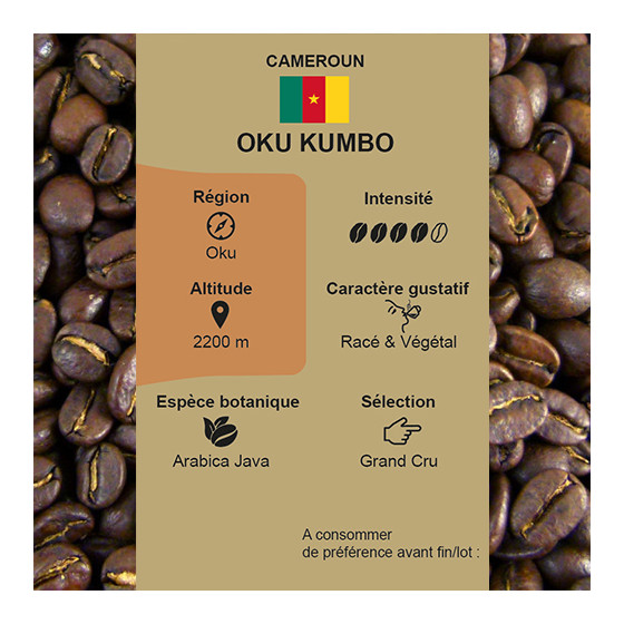 Café torréfié pur arabica Oku Kumbo du Cameroun