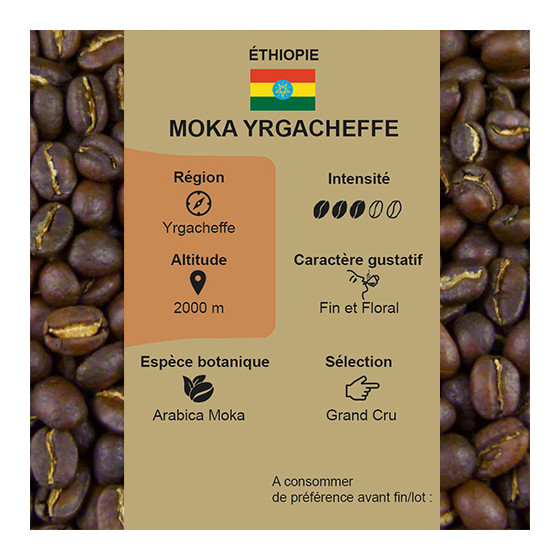 Café torréfié pur arabica Moka Yrgacheffe d'Ethiopie