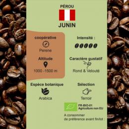 Café torréfié pur arabica bio Junin du Pérou